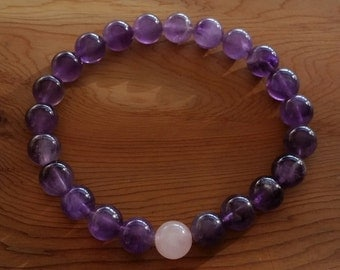 Unisex Natural Organic Amethyst & Rose Quartz Bracelet handmade (HGB10827)- Wrist size up to 7 1/4 inches- Ship from Canada