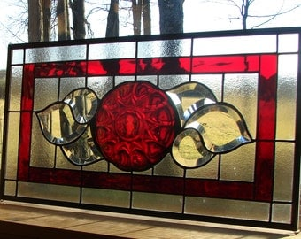stained glass panel Ruby Red with bevels