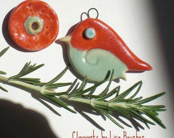 Red and Light Green Bird Pendant and Coin Bead Set