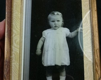 Vintage Art Deco Gold Metal Picture Frame with Photo of Little Girl 1920's - 1930's 6x4