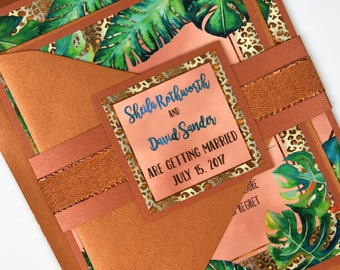 Watercolour Tropical Palm Leaves with Rose Foil Beach Destination Wedding Invitation and RSVP Suite