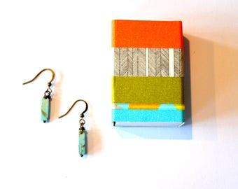 Gift Boxed Earrings / Small Modern Turquoise Earrings / Geometric Turquoise Gemstone Earrings/ Matchbox Jewelry Gift Box with Washi Tape