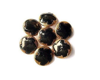 6 Vintage flower buttons black plastic with bronze color shank buttons -choose size