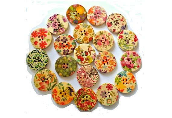 20 Wood buttons, 20 designs, colorful, flowers, ornament, 30mm