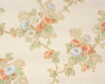 1930s Vintage Wallpaper by the Yard - Antique Wallpaper Peach and Blue Floral