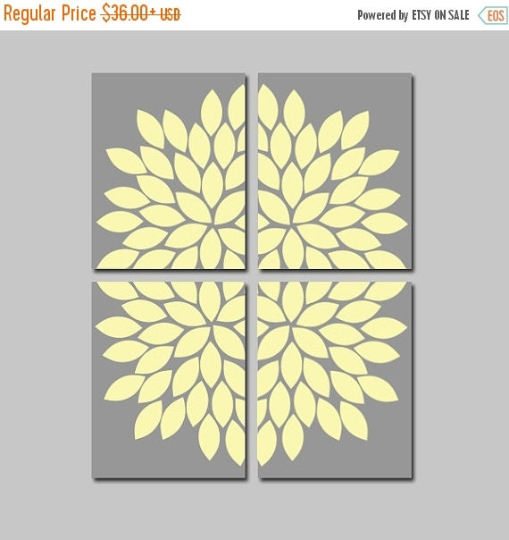 Wall Art Canvas Yellow : Yellow gray wall art canvas or prints flower bedroom by