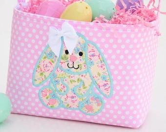 Easter Basket bunny Applique pink polka dot