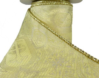 """Cream & Pale Gold Intricate Medieval Cross Pattern  Wired Ribbon  4"""" Wide"""