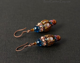Victorian Beadwoven earrings blue, beige and copper