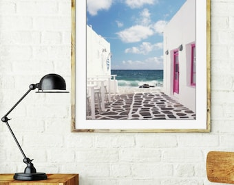 "Greece photography ocean wall art white pink decor whitewashed street clouds  ""Cobblestones to the Sea"""