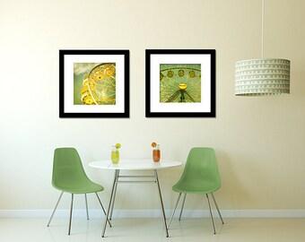 Carnival Photography Set, Ferris Wheel Photos, Fair Prints, Nursery Wall Art, Green, Yellow, Print Set, Home Decor - Set of Two Prints