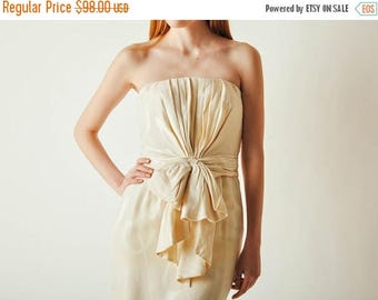 ON SALE Vintage Odicini Cream Strapless Dress