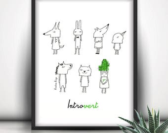 Introvert, Introverts Unite, Anti Social Art Print, Shy, Cactus Print, Wall Art, Whimsical Illustration, Autistic