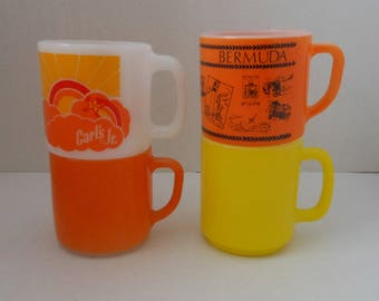 Vintage 60s 70s Milk Glass Mugs, 1960s 1970s Glassbake Federal Coffee Cups, Carl's Jr Bermuda Orange Yellow, Lot of 4