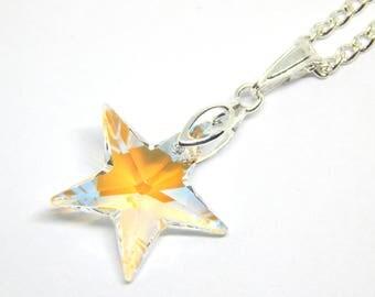 White Blue Swarovski Star Necklace - Crystal Blue Aurora Borealis - White Blue Star - Swarovski Elements - Blue Orange Crystal Star Pendant