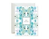 MERCI BEAUCOUP Aqua Eucalyptus Tiled Marble Greeting Card / Thank You / Thanks