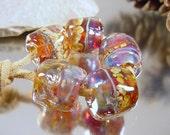 Handmade lampwork glass bead set, Artisan glass beads, amber beads, ruby beads, purple beads, gold beads, barrel beads, SRA lampwork beads