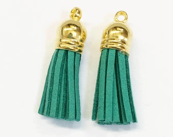 10 pcs of Suede tassel with gold plated cap, bulk necklace tassel, earring tassel  37x10mm, Green