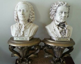 Vintage Burwood Famous Composers Wall Decor 70s Bach Beethoven Plastic Busts