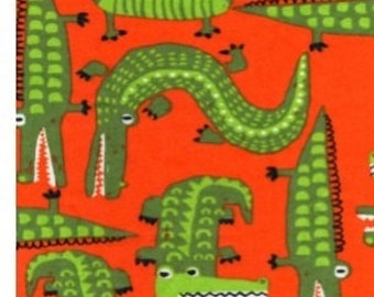 ALLIGATOR Crocodile Orange Green Flannel Pajama Lounge Pants Shorts or Capri Girls Boys clothing Available in children's sizes 0-3 months-5T