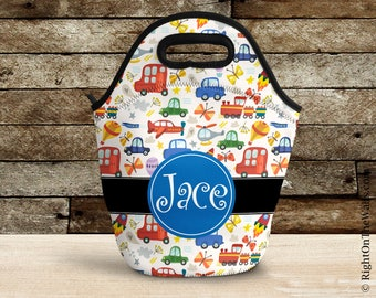 Kids Lunch Box, Personalized Lunch Tote, Reusable Lunch Bag, Insulated Lunch Bag, Custom Car Automobile Lunch Box, WoodlandCars