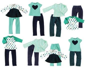 Fits like Wellie Wishers Doll Clothes - Under the Sea Mix and Match Starter Wardrobe, an 8-Piece Collection
