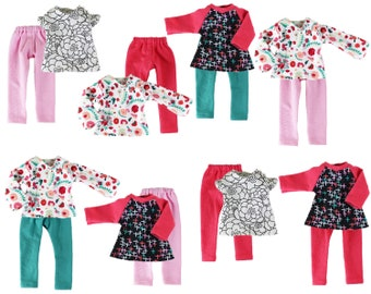 Fits like Wellie Wishers Doll Clothes - Spring Mix and Match Starter Wardrobe, a 6-Piece Collection