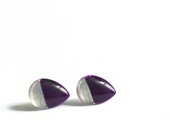 Purple earrings | teardrop | modern minimalist | post earrings | surgical steel handpainted glass, azurine