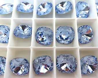 2 Light Sapphire Foiled Swarovski Crystal Square Cushion Cut Stone 4470 12mm