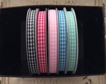 """75% OFF-- 3/8"""" FULL ROLL of Gingham Ribbon--25 yards--Ready to Ship--Limited Colors Available"""