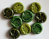 embossed ceramic leaf impressions...clay coins  SALE PRICED
