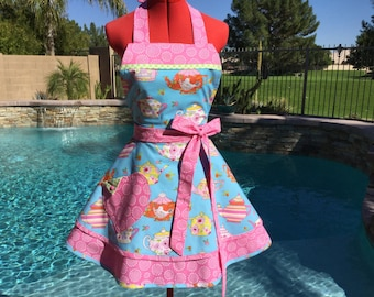 Ready to Ship - Teapots Sassy Apron with Pink Petticoat, Womens Aprons, Misses Pin Up Apron, Kitchen Apron Hostess Gifts, Tiddlywinks