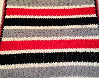 Crocheted Shell Stitch  White Gray Red Black Crochet Baby Blanket  Throw Girl Boy  Lap Robe 36 X 46 Acrylic Baby Gift Warm