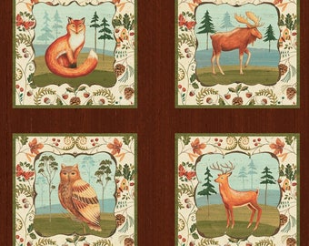 Wild Woods - Multi Wild Woods- Block Panel - Fox- Moose-Owl -Deer- Bear- Windham Fabric- Animal Fabric- Cotton Fabric - By the panel.