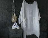 White Linen Oversized Dress