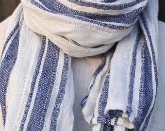 Blue and White Striped Linen Scarf