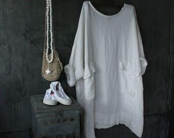 White Linen Oversized Dress