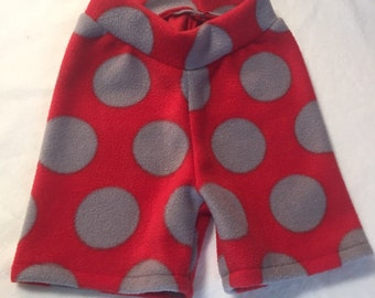 Red and Gray Polka Dots Anti Pill Fleece Shorties --- Diaper Cover
