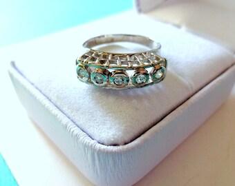 Mid Century 18kt White Gold Bezel Set Five-Stone Diamond Wedding Band