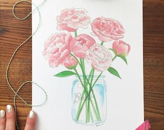 Peonies Art. Peony Art Print. Floral Watercolor. Flower Art Print. Mason Jar. 8x10 Print. Bouquet of Peonies. Ready to Frame. Gift Under 20