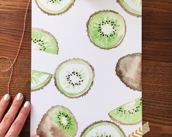 Kiwi Art Print. Watercolor Kiwi. Kiwi Painting. Kiwi Fruit Art. Kitchen Art. Home Decor. 8x10 Print. Ready to Frame. Gift Under 20. Kiwi Art