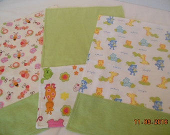 Set of Three Flannel Girl Baby Burp Cloths/Changing Pads