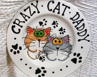 Crazy Cat Daddy Plate Handmade In Clay by Gracie Pet Food Dish