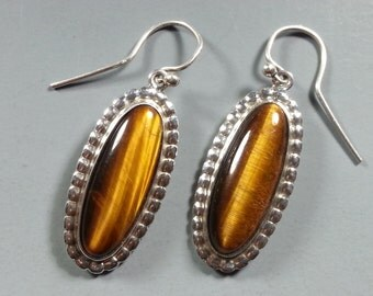 Golden Tiger Eye and Sterling Silver Earrings