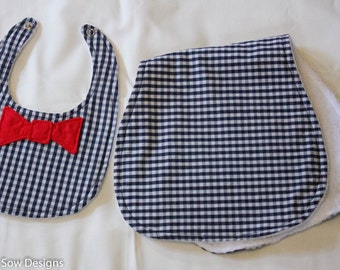 Navy Gingham Baby Bib with  Red Bow Tie  and Burp Cloth Set - Baby Gift - Layette Set