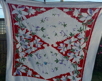 Vintage Red White and Purple  Floral Print Tablecloth