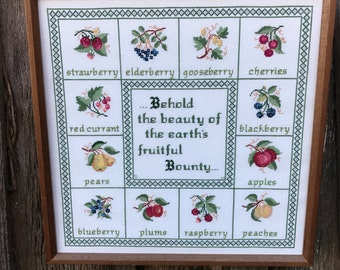 Vintage Wood Framed Counted Cross Stitch Sampler Behold the Beauty of the Earth's Fruitful Bounty