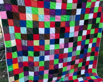 Vintage Hand Tied Colorful Polyester and Double Knit Patchwork Quilt