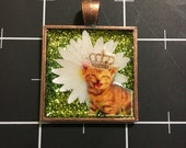 Tiny Kitten, Tiny Crown, Sunny Daisy Cat Pendant, 50% of the proceeds goes to animal charities