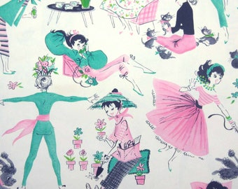 Vintage 1950s or 1960s All Occasion or Birthday Wrapping Paper or Gift Wrap with Retro Girls Poodles Kittens Cat Reading Tea by Hallmark